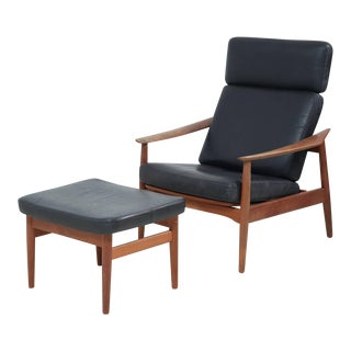 Reclining Arne Vodder Easy Chair and Footstool model FD 164 For Sale