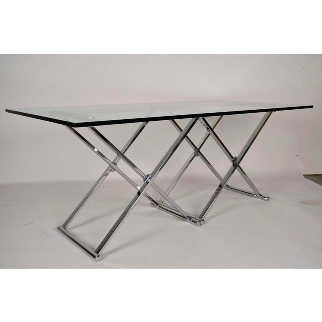 Mid-Century Modern Chrome and Glass Console Table - Image 3 of 6
