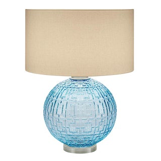 Aqua Glass With Brushed Nickel Table Lamp and Shade For Sale