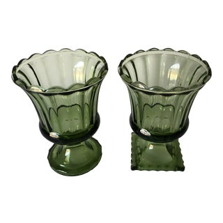 Midcentury Avocado Green Footed Urn Flower Vases S/2 For Sale