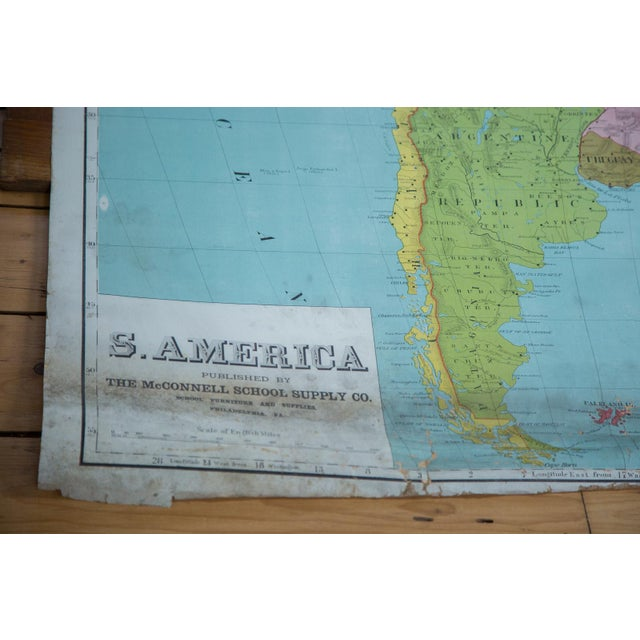 Traditional Vintage Pull Down Map of South America For Sale - Image 3 of 9