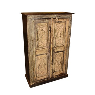 Vintage Original Floral Hand Carved Cabinet For Sale