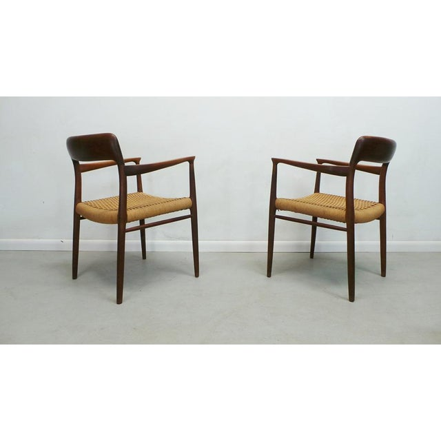 Mid Century j.l. Moller Danish Modern Teak Framed Rope Seat #56 Arm Dining Chairs by j.l. Moller For Sale In Orlando - Image 6 of 11