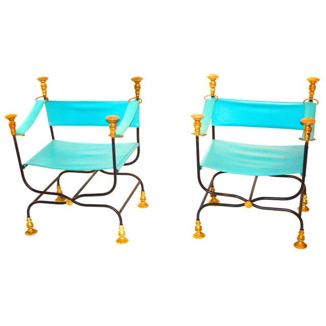 Leather and Iron Directoire Chairs - Image 1 of 2