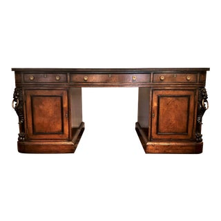 "Antique English Mahogany ""Duke of Wellington"" Desk, Circa 1910-1920. For Sale"