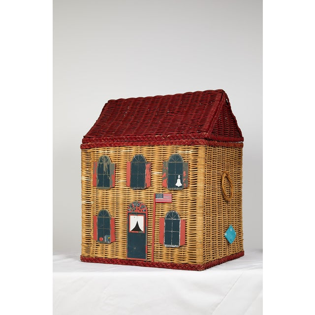 Vintage Schoolhouse Toy Box of Wicker For Sale - Image 10 of 11