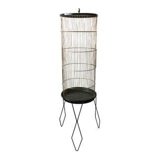 Mid-Century Modern Black & Brass Birdcage