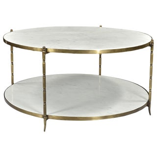 Round Marble & Brass Coffee Table For Sale