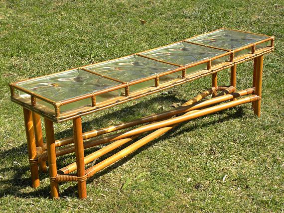 Boho Chic Mid Century Bamboo U0026 Glass Block Coffee Table For Sale   Image 3