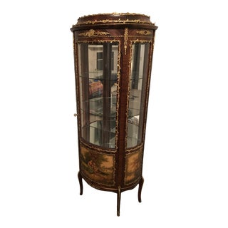 20th Century Fab French Handpainted Curio Cabinet For Sale