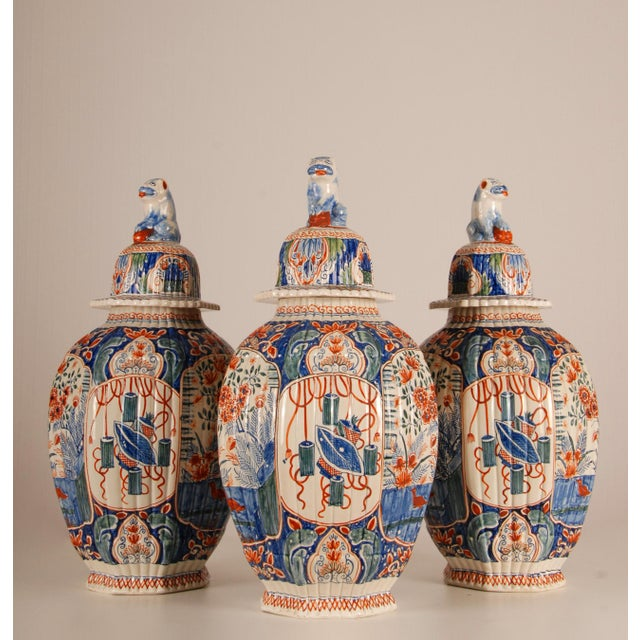 Late 19th Century Antique French Delftware Pottery Tinglazed Vases & Covers - Set of 3 For Sale - Image 5 of 12