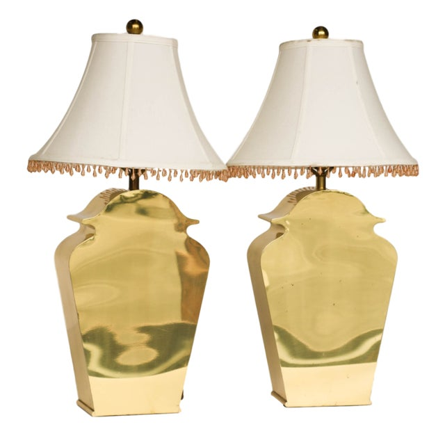 Mid-Century Chapman Brass Table Lamps - A Pair - Image 1 of 10