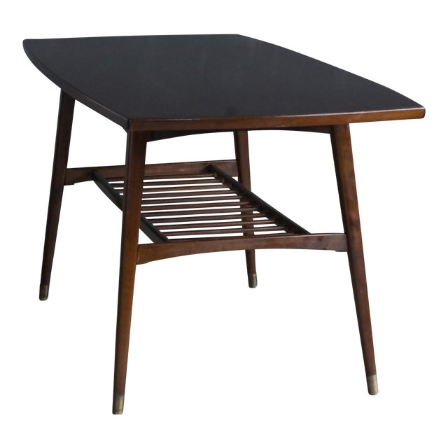 Danish Mid Century Modern Coffee Table With Magazine Shelf 1950 S