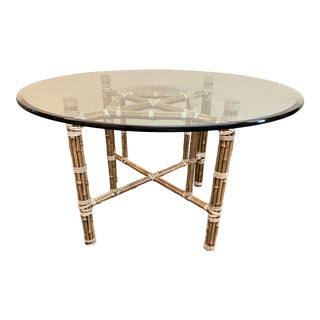 McGuire Late 20th Century Glass Round Dining Table For Sale