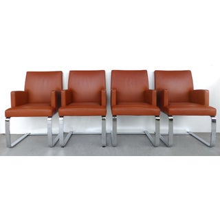 De Sede of Switzerland Cantilevered Leather and Stainless Steel Chairs, '4' Preview