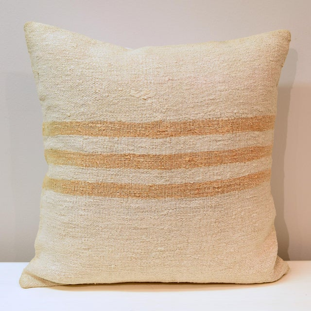 Late 20th Century Hand Woven Cream With Gold Stripes Kilim Wool Hemp Pillow For Sale - Image 5 of 5