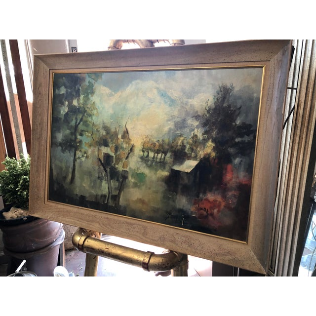 Super-wide original period frame with impressionist mountain landscape and cabin. The piece was made in the '50s....