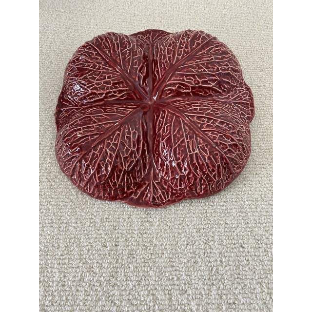 Mid 20th Century Rare Colored Purple Cabbage Platter From Portugal For Sale - Image 5 of 8