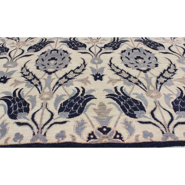 Textile Kafkaz Peshawar Floyd Ivory/Drk. Blue Wool Rug - 8'0 X 10'2 For Sale - Image 7 of 8