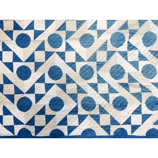 Antique Blue & White Graphic Quilt For Sale