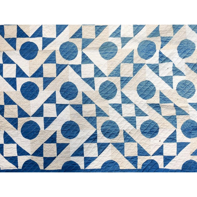 Antique Blue & White Graphic Quilt For Sale