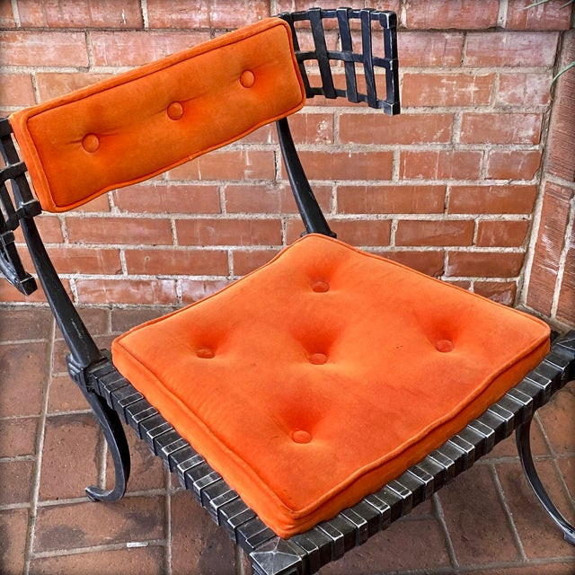 1960s Vintage Klismos-Style Thinline Lounge Chair and Ottoman with Original Finish & Orange Upholstery For Sale - Image 11 of 13