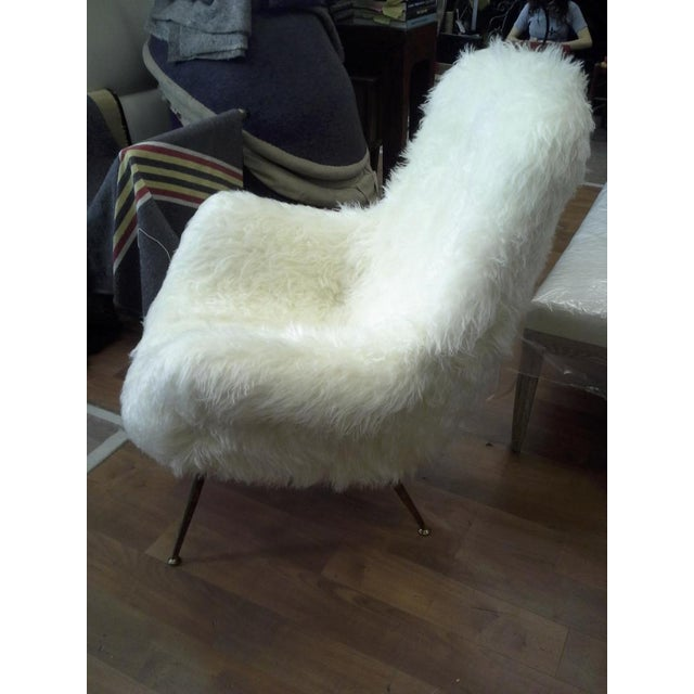 Animal Skin Fritz Neth Pair of Comfy Lounge Chairs Newly Covered in Sheep Skin Fur For Sale - Image 7 of 9