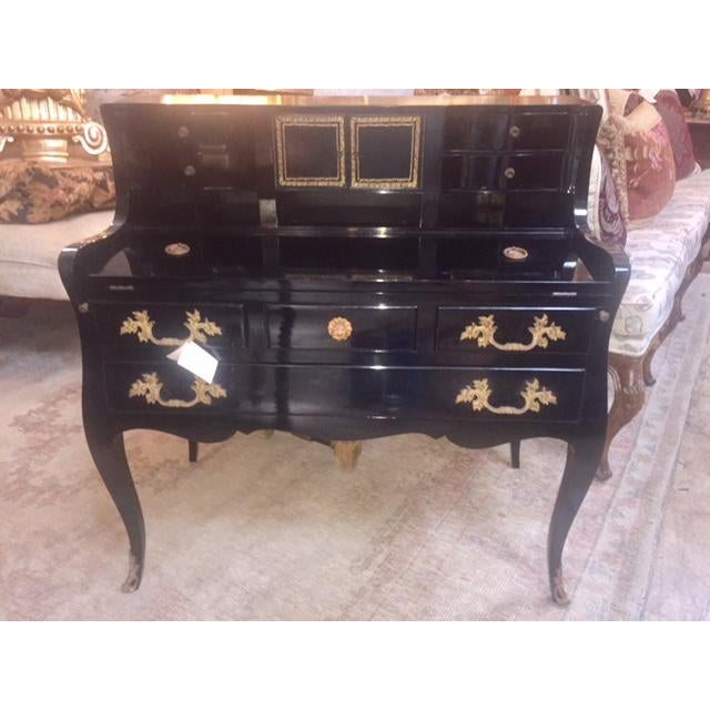 Lacquer Vintage Black Lacquered French Style Desk For Sale - Image 7 of 11 - Vintage Black Lacquered French Style Desk Chairish