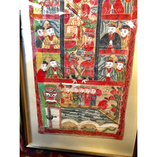 Antique 19th Century Chinese Qing Taoist Temple Scroll Painting For Sale - Image 4 of 7
