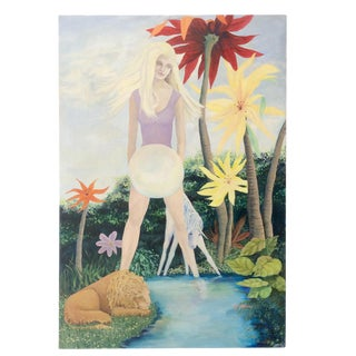 1970s Vintage Surrealist Portrait of Young Woman With Orb Painting on Canvas For Sale