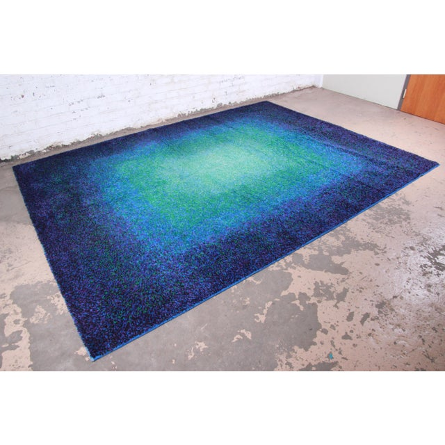 "An exceptional mid-century modern Danish Rya style shag wool rug By Karastan USA, Circa 1970s Measures: 8'11"" x 12'..."