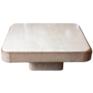 De Sede Gray Leather Coffee Table With Travertine Top