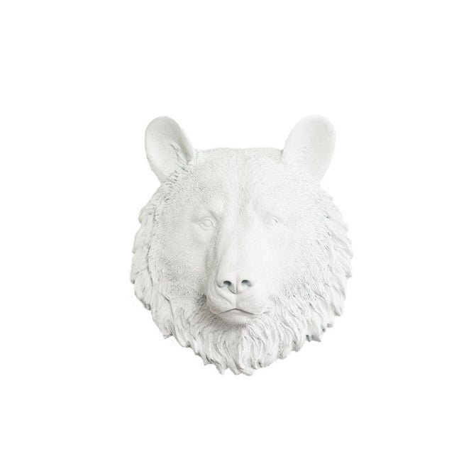 Boho Chic Wall Charmers Faux White Mini Bear Head Wall Sculpture For Sale - Image 3 of 3