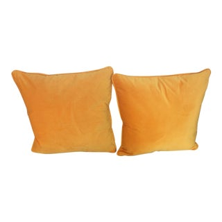 Contemporary Italian Mustard Yellow Pillows - a Pair For Sale