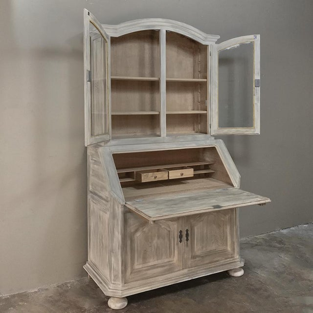 Rustic Antique Country French Whitewashed Secretary ~ Bookcase For Sale - Image 4 of 13