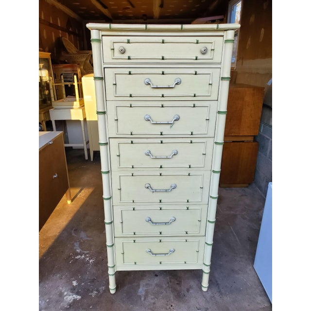 1970's Boho Chic Thomasville Faux Bamboo Lingerie Chest For Sale - Image 10 of 10