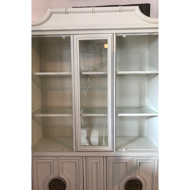 Asian Chinoiserie Faux Bamboo Painted China Cabinet For Sale - Image 3 of 10