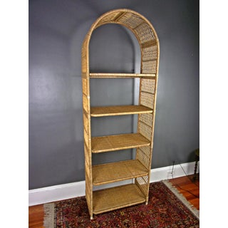 1970s Vintage Boho Wicker Shelf Etagere Preview