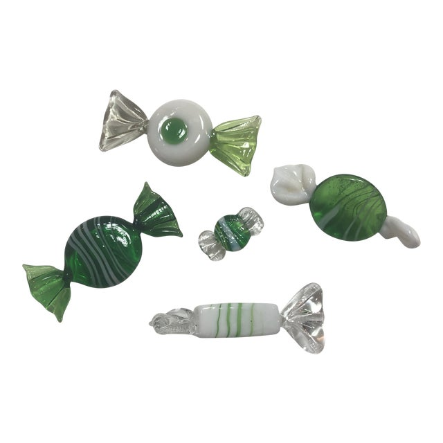 1970s Vintage Italian Murano Glass Green Candies - Set of 5 For Sale