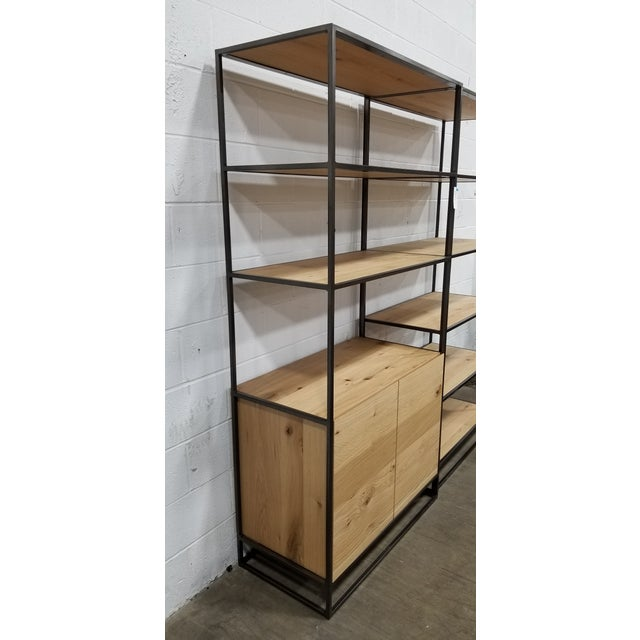 2010s Industrial West Elm Bookcase With Doors For Sale - Image 5 of 5