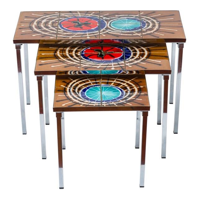 1970s Belgian Juliette Belarti Nesting Tables - Set of 3 For Sale
