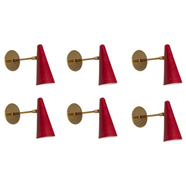 1960s Stilux Articulating Red Cone Sconces For Sale