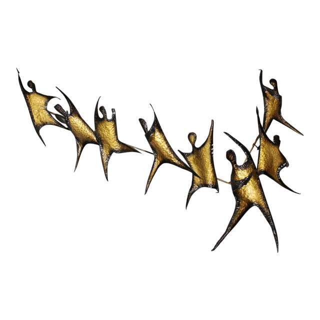 Brutalist Figural Brass Wall Sculpture - Image 1 of 8