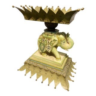 Vintage Tole and Plaster Elephant Compote / Tray For Sale