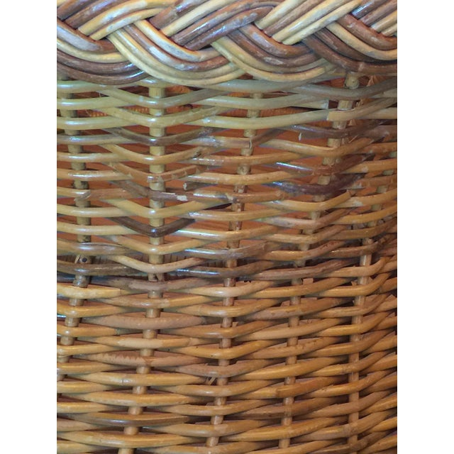 Bamboo 1970s Boho Chic Round Wicker Coffee Table For Sale - Image 7 of 11