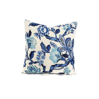 "F. Schumacher Huntington Gardens in Bleu Marine Pillow Cover - 20"" X 20"" Blue and Cream Floral Cushion Case - Fabric on Both Sides Preview"