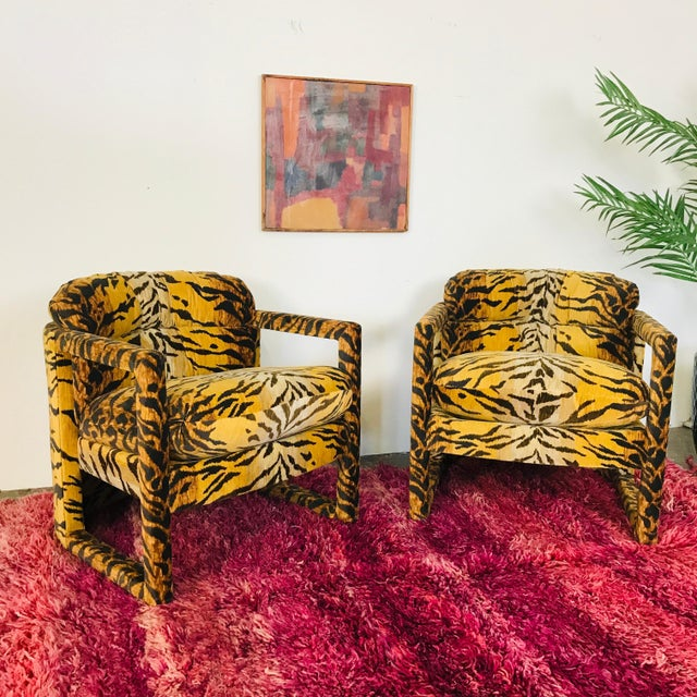 Brown Custom Tiger Print Milo Baughman Chairs For Sale - Image 8 of 13