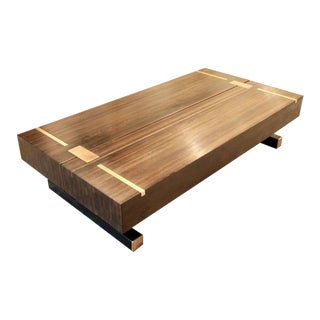 Contemporary Coffee Table, Using a J. Wabbes 1960's Wenge End-Grain Wood Top For Sale