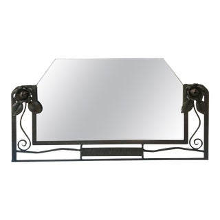 Iron Art Deco Mirror with Roses, circa 1930 For Sale