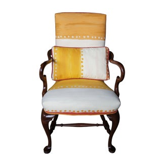 Queen Anne Mahogany Goose Neck Dining Arm Chair Southwestern Upholstery Pillow Preview